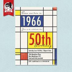 50th Birthday Party Invitations // Retro 60s // by NunskDesigns
