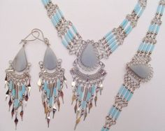 Light-Blue Celestine Teardrops Bugle Beads Earrings, Necklace, Bracelet Set Peruvian Jewelry- Handmade in Peru by handmadeperujewelry. Explore more products on http://handmadeperujewelry.etsy.com