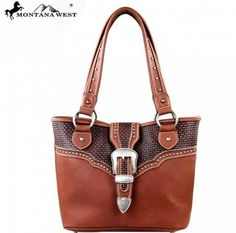 Buckle Collection Handbag  Montana West Buckle Collection Handbag purse  $57.99  Made of the Vegan leather  this western handbag has:An antique silver belt-buckle on the flap that snap closeBasket weave design with antique silver embellishmentsA zipper enclosure for the entire purseInside single compartment divided by a medium zippered pocketInside of bag include a zippered pocket and 2 open pocketOne open pocket and zippered pocket on the backMetal feet on the bottom for protection and…