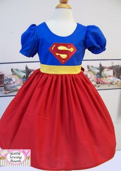 Super Hero  Dress and Matching Cape by RuthSewingRoomDesign, $85.95