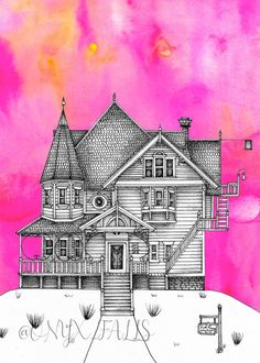 Pink Palace Apartments Print Coraline Print Coraline | Etsy Coraline Art, Coraline Jones, Pink Palace, Other Mothers, Animation Background, All Art, Drawing Ideas, Apartments, Picture Frames