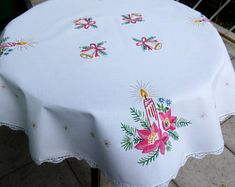 Embroidered Hungarian doilies tablecloths by EmbroideryOfHungary Handmade Birthday Gifts, Christmas Table Cloth, Christmas Embroidery, Table Centerpieces, Doilies, Handicraft, Etsy Seller, Christmas Gifts, Basket