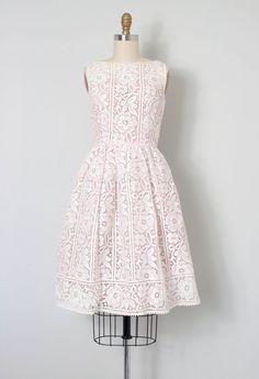 vintage 1950s dress / white floral lace 50s dress / by SwaneeGRACE