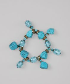 Turquoise & Blue Rock On Stretch Bracelet | Daily deals for moms, babies and kids