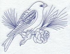 bluework designs | ... Embroidery Designs at Embroidery Library! - Pine Grosbeak (Bluework
