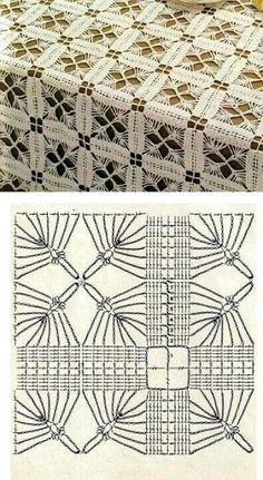 Crochet Heklanje: Šema 27 - Veliki stolnjak od kvadratnih motiva