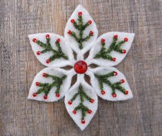 Felt Snowflake Pattern PDF File by WanderingLydia on Etsy Felt Ornaments Patterns, Fabric Christmas Ornaments, Felt Christmas Decorations, Felt Patterns, Handmade Christmas, Diy Ornaments, Beaded Ornaments, Christmas Christmas, Glass Ornaments