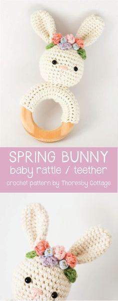 Spring bunny with flower crown | Crochet rattle nursery decor