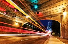 Bridge and Tunnel Lions Gate, Stanley Park, Light Trails, North Vancouver, Past, Bridge, To Go, Travel, Past Tense