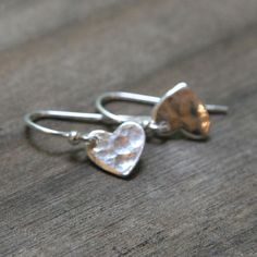 Small Silver Heart Earrings // Romantic Mini Hammered by burnish, $22.00