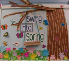 Spring Display   Could make silhouette of child reading a book on swing for library...?