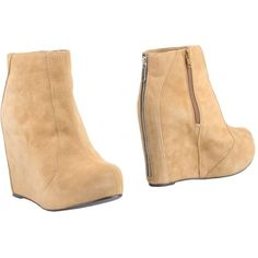Jeffrey Campbell Ankle Boots ($98) ❤ liked on Polyvore featuring shoes, boots, ankle booties, camel, wedge bootie, leather boots, jeffrey campbell booties, leather bootie and wedge booties