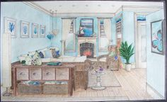 Perspective drawing and designed project: With seagrass furniture and natural cotton fabrics, the Blue Ocean theme creates a natural and relaxing ambiance for the living room of this ocean front cottage.