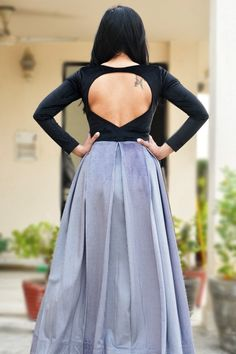 Buy Black Velvet Padded Floor Length Dress by Colorauction - Online shopping for Dresses in India New Saree Blouse Designs, Blouse Back Neck Designs, Simple Blouse Designs, Stylish Blouse Design, Choli Blouse Design, Black Blouse Designs, Traditional Dresses Designs, Long Dress Design, Sleeves Designs For Dresses