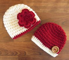 Crochet Baby Boots, Baby Girl Crochet, Crochet Baby Clothes, Knit Or Crochet, Crochet Hats, Holiday Hats, Christmas Hat, Yarn Crafts, Baby Hats