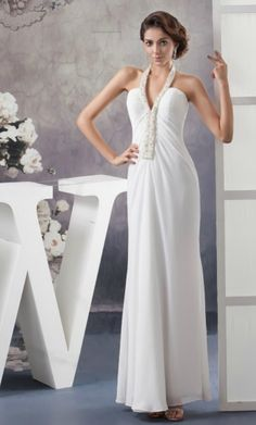 Simple Sheath Halter Ankle-length Chiffon Wedding Dress With Beading  for Older Bride Over 40,50,60