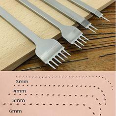 Aiskaer White Steel 6mm 1//2//4//6 Prong DIY Diamond Lacing Stitching Chisel Set