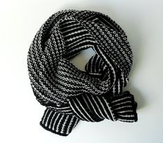 Merino Alpaca Cashmere Scarf Black and White Charocal by IRISMINT, $92.00