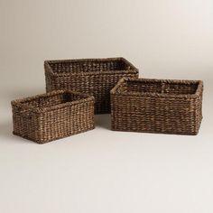 Espresso Rectangular Samantha Storage Baskets