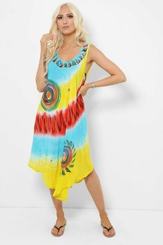 Tie Dye Sleeveless Midi Dress Asymmetric Boho Hippie Festival Beach Blue Yellow #Unbranded #KaftanBeachDress #Casual Hippie Festival, Boho Hippie, Boho Dress, Kaftan, Blue Yellow, Beachwear, Tie Dye, Summer Dresses, Casual
