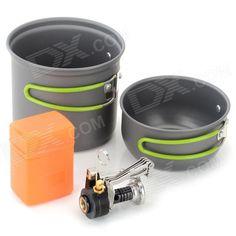 DS-101-2 Outdoor Double Cooking Pots + E-lighter Mini Stove Set w/ Foldable Handle - Black + Silver