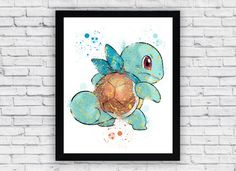 Squirtle Pokemon Watercolor print Squirtle Pokemon by Toons4Fun