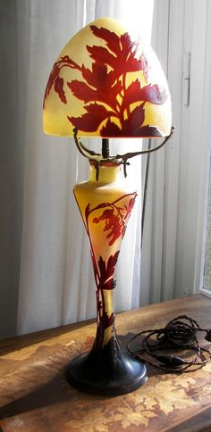 C. 1900 HUGE GALLE CAMEO GLASS LAMP