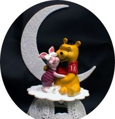 "PIGLET Bride Winnie the Pooh Groom Wedding Cake Topper ""Your my Honey ..."