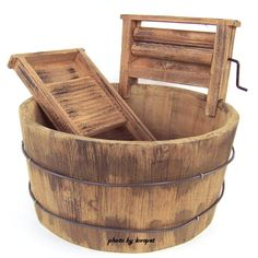 Vintage Wooden Washboard & Wringer Tub