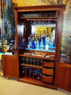 Custom made dry bar from a repurposed entertainment cabinet. Diy Furniture Projects, Bar Furniture, Repurposed Furniture, Furniture Makeover, Armoire Makeover, Refinished Furniture, Armoire Bar, Home Bar Cabinet, Liquor Cabinet