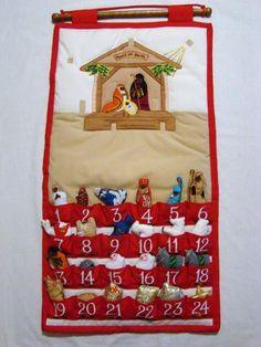 Fabric Nativity Scene Advent Calendar w Velcro Pieces x Very Merry Christmas, Felt Christmas, Christmas Holidays, Christmas Decorations, Holiday Decor, Christmas Ideas, Nativity Advent Calendar, Advent Calendars, True Meaning Of Christmas