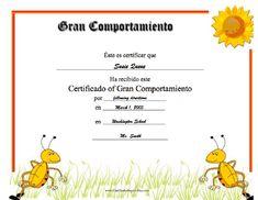 Gran Comportamiento para imprimir los certificados, gratis para descargar e imprimir