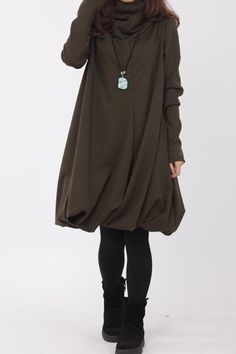 Pile collar cotton dress in army green by MaLieb Baggy Dresses, Cotton Dresses, Mori Fashion, Womens Fashion, Mori Mode, Capsule Wardrobe Mom, Dress Sites, Diy Clothes, Clothes For Women
