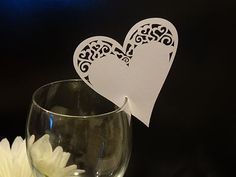 HEART WEDDING NAME PLACE CARD NUMBER HOLDERS FOR GLASS X10 | eBay