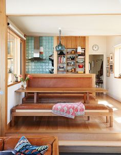 Kitchen/ dining in the home of Emily Wright (nancybird) and Robert Dabal on The Design Files. Love the table and bench seats by Damien Wright of Wright Studios. Kitchen Interior, Kitchen Decor, Kitchen Design, Kitchen Seating, Kitchen Tiles, Home Living, Living Spaces, Living Room, Melbourne House