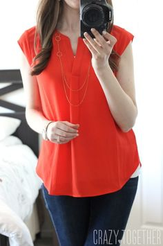 Judy Split Neck Blouse - really love this shirt!