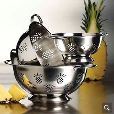 Get the 3-Pc Stainless Steel Pineapple Colander set for a discounted price of just $12.99 (reg. $39.99). Functional, affordable and decorative! 3-Pc Stainl