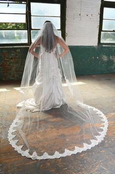 Romantic Lace Edge Elena Designs E1165L Cathedral Wedding Veil - Affordable Elegance Bridal -
