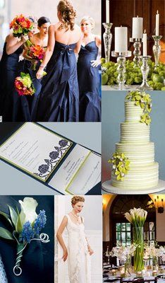 Charming Weddings: Navy and Chartreuse color palette!!!!!!! And callalilies!!!!!