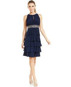 Patra Sleeveless Bead-Trim Tiered Dress