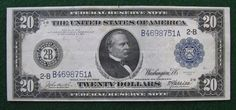 1914 US $20 Federal Reserve Note New York; Crisp Lightly Circulated Note FR #968