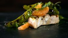 Michael Symon's Grilled Swordfish with Shishitos and Grapefruit