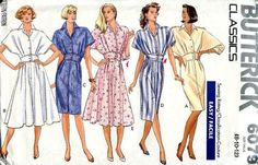 Sewing Patterns,Vintage,Out of Print,Retro,Vogue Simplicity McCall's,Over 7000 - Butterick 6079 Retro 1980's Dolman Sleeve Shirtdress Dress Midriff