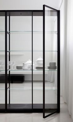 | KITCHEN | Glass encased Ex-libris bookcase designed by Piero Lissoni.