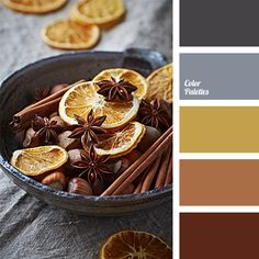 Cinnamon and dried orange peels will warm you on a cold, gray day. Use this palette to decorate your study..