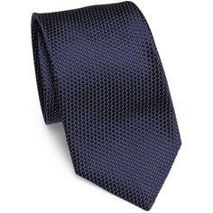 Corneliani Men's Textured Silk Tie - Navy (3,405 MXN) ❤ liked on Polyvore featuring men's fashion, men's accessories, men's neckwear, ties, apparel & accessories and navy