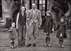 Daphne Du Maurier (British writer) with Browning Boy and their three children.