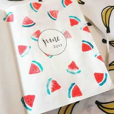 "16 Likes, 3 Comments - Sarah Shnikov (@bichette33) on Instagram: ""#bulletjournal #june #bujo #watermelon #watercolor"""