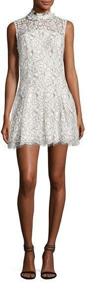 LIKELY Catherine Mock-Neck Lace Mini Dress, White