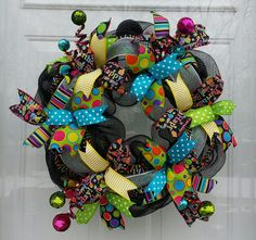 Happy Birthday Deco Mesh Wreath, Birthday Wreath, Happy Birthday Wreath, Party Wreath, Birthday Celebration Deco, Birthday Decor - pinned by pin4etsy.com